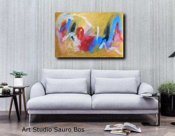quadri astratti su tela moderni c117 600x468 - dipinto giallo dipinto a mano 120x80