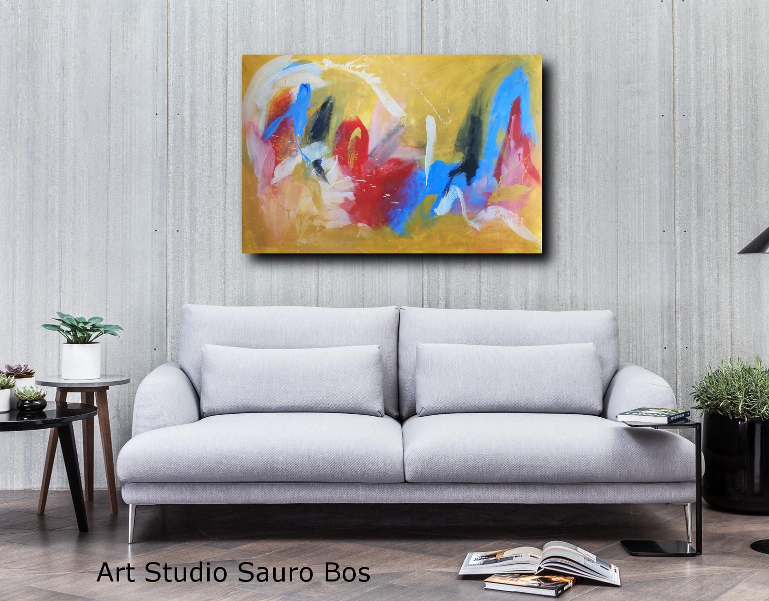 quadri astratti su tela moderni c117 - dipinto giallo dipinto a mano 120x80