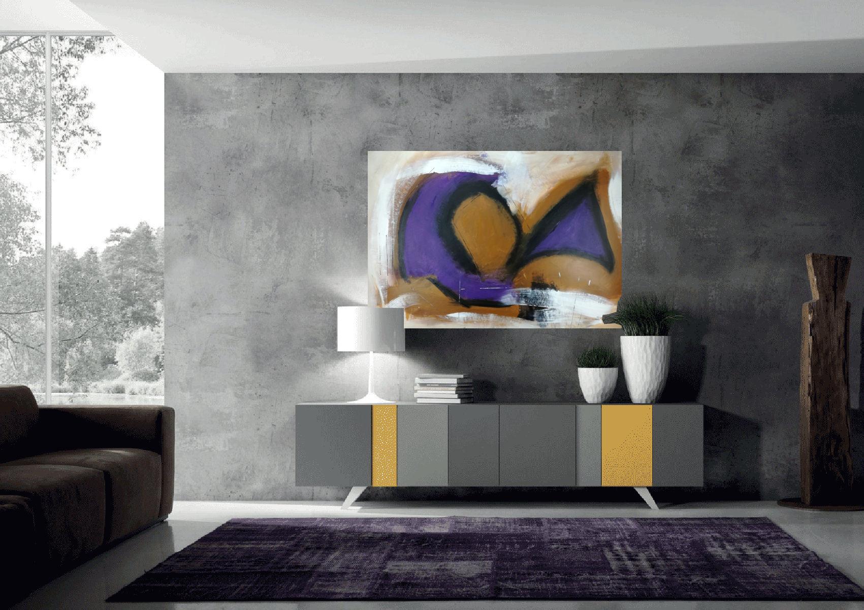 quadri astratti viola c134 - quadri-moderni-su-tela-100x70