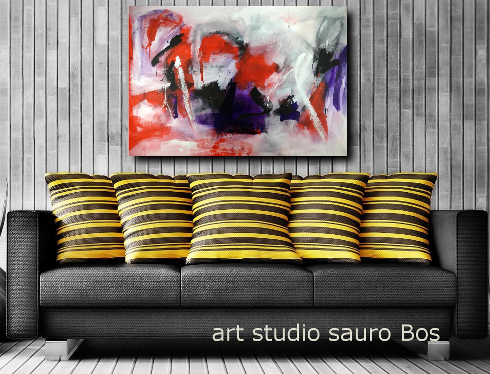 Quadri rossi dipinti a mano 120x80 sauro bos for Quadri astratti rossi