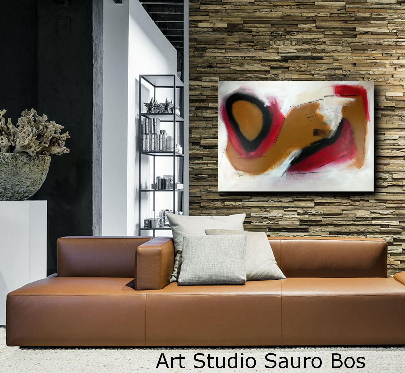 Quadri moderni su tela 100x70 rosso sauro bos for Quadri moderni su tela