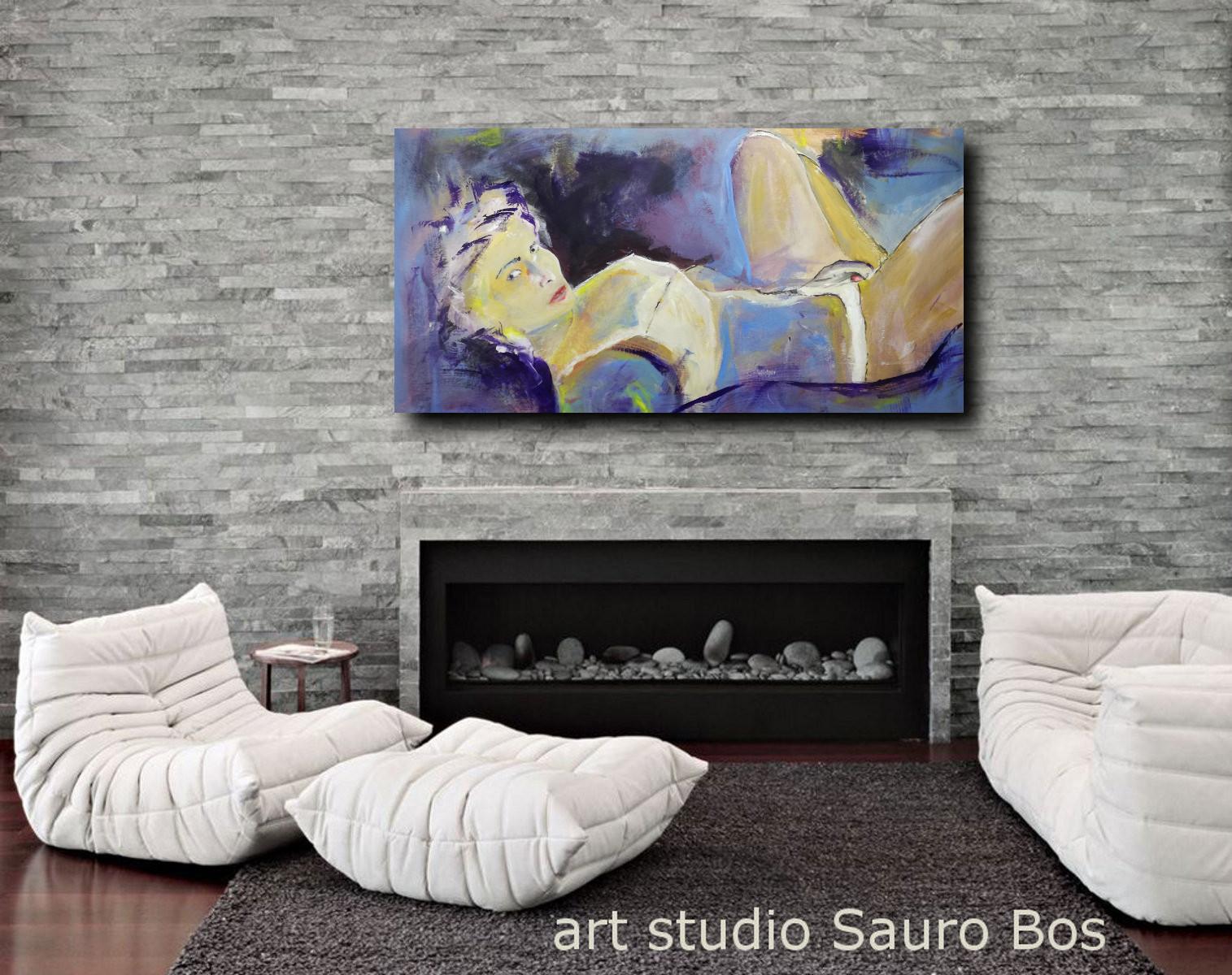 quadro moderno donna D002 - quadri grandi dimensioni moderni 120x60