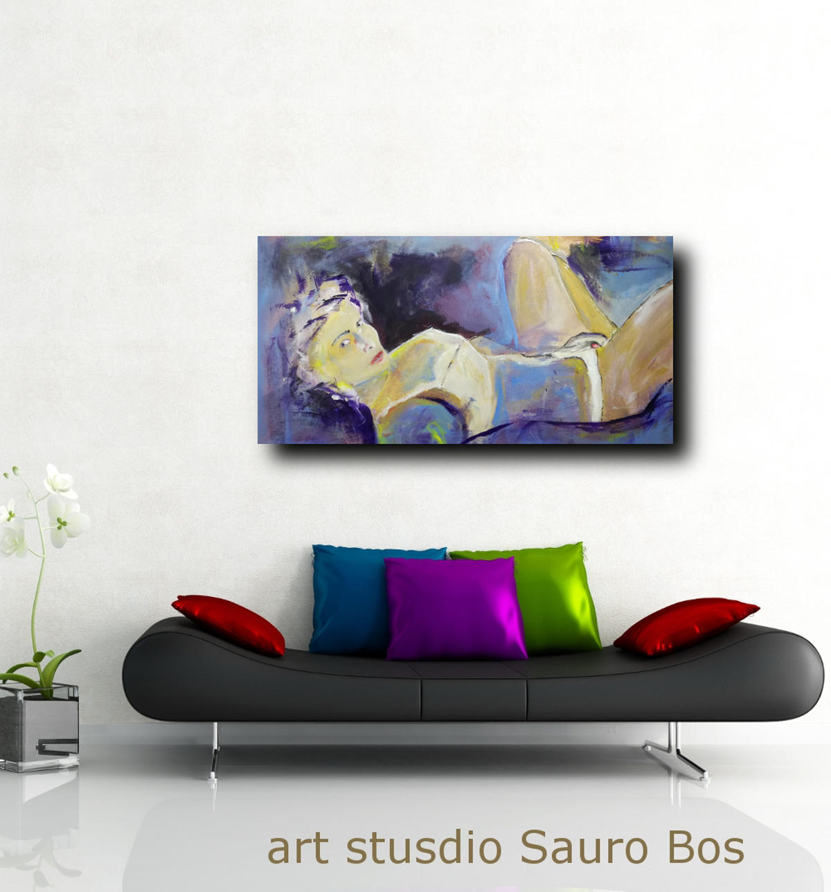 woman painting canvas D002 - quadri grandi dimensioni moderni 120x60