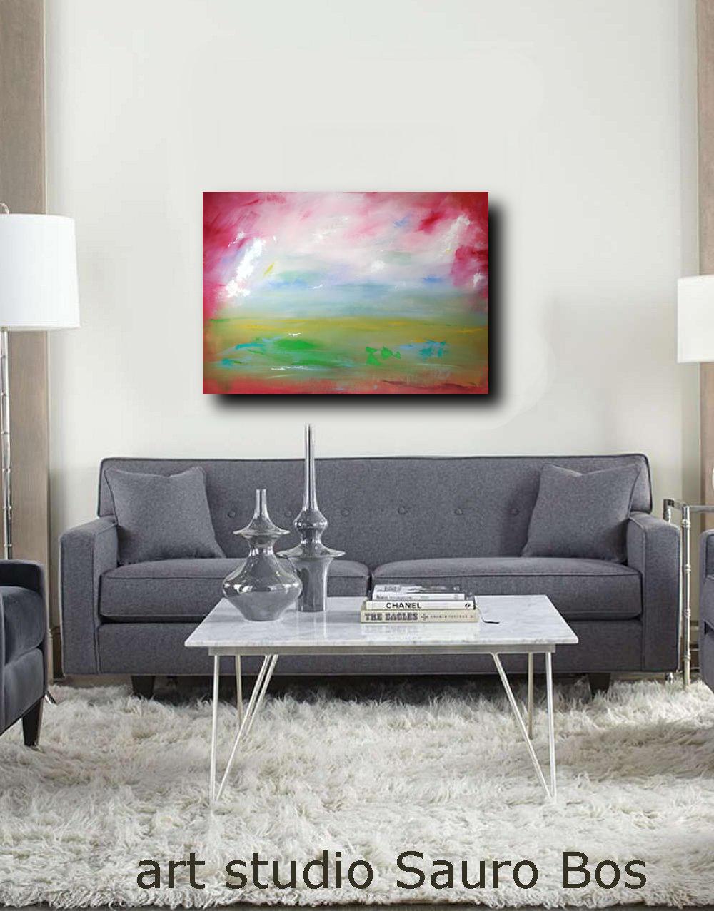 paesaggio moderno dipinto su tela - dipinti-moderni-paesaggi-100x70 rosso