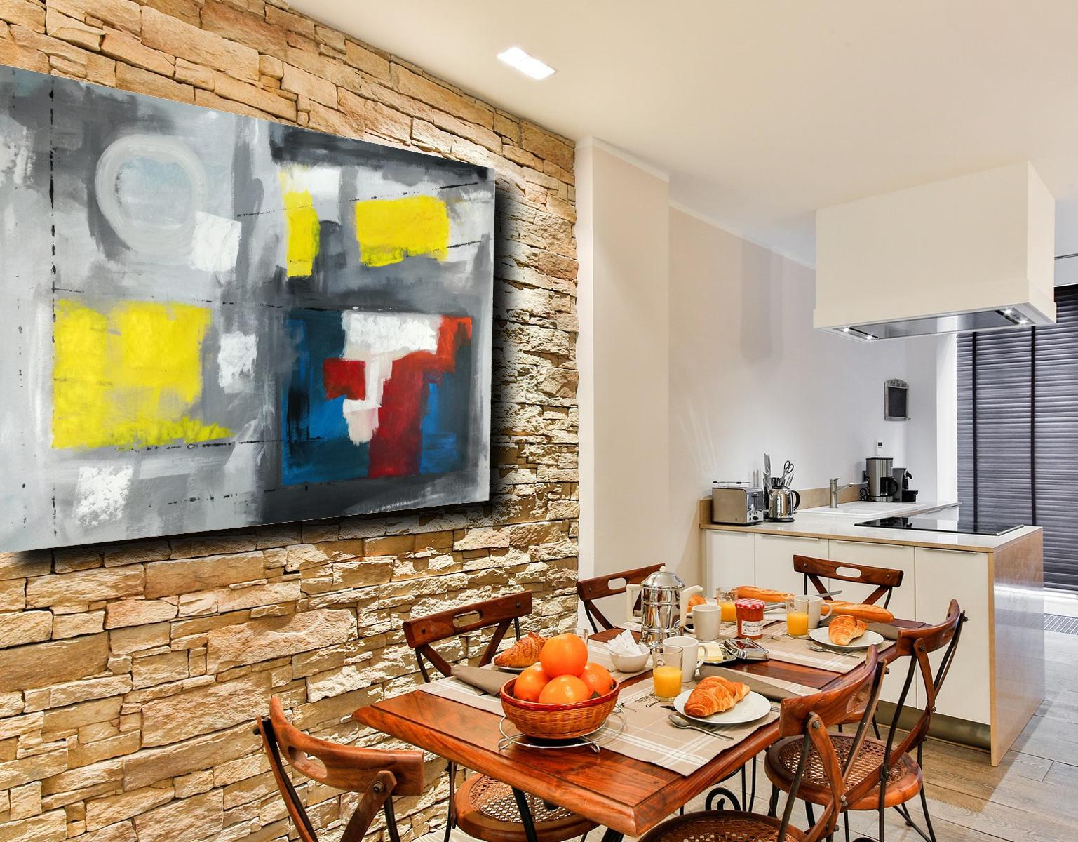 Quadro grande astratto su tela 120x80 per arredamento - Cucina arredamento moderno ...