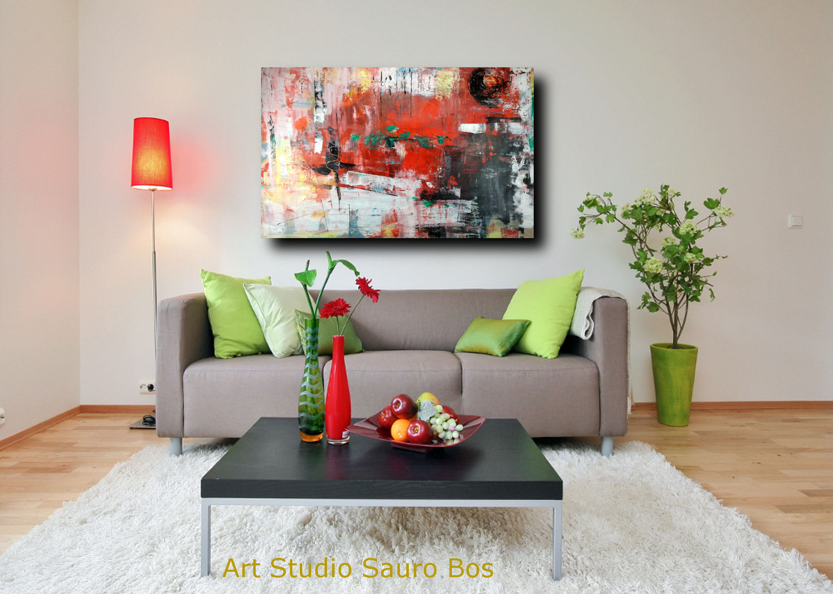 quadri grandi su tela 120x80 rosso   sauro bos