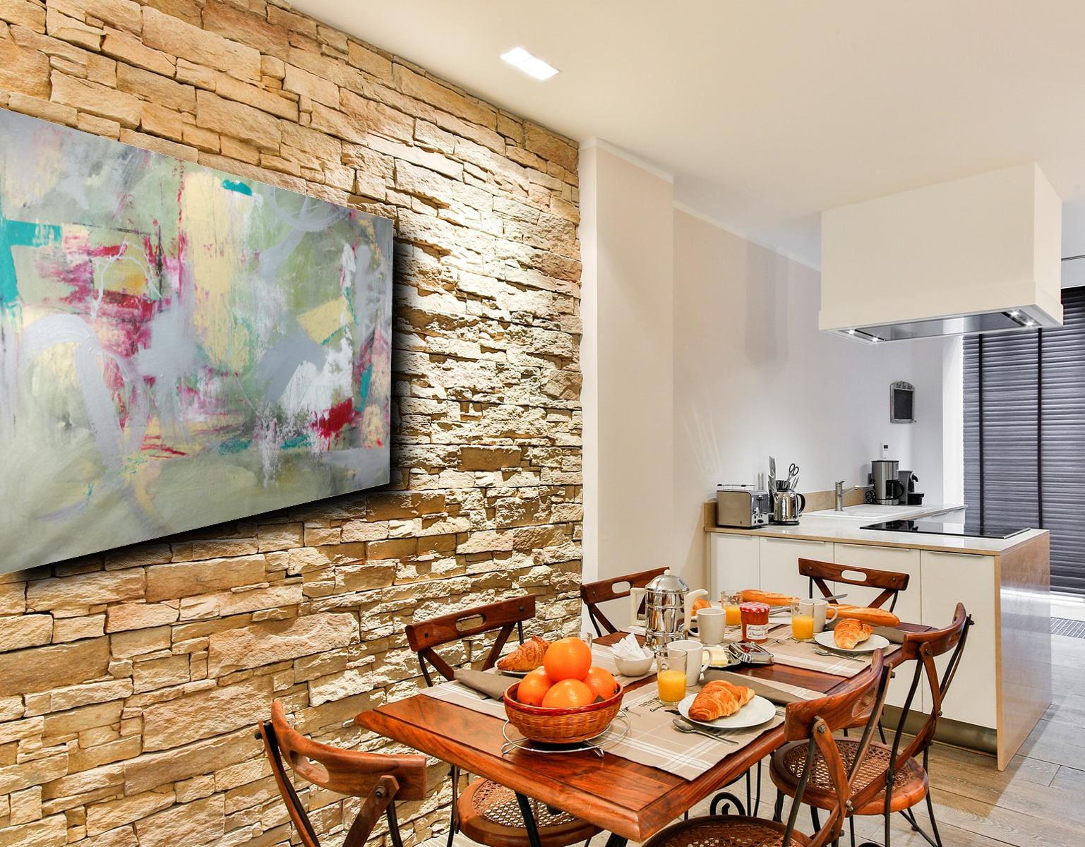 Quadri grandi su tela 120x80 giallo rosso grigio sauro bos - Quadri cucina moderna ...