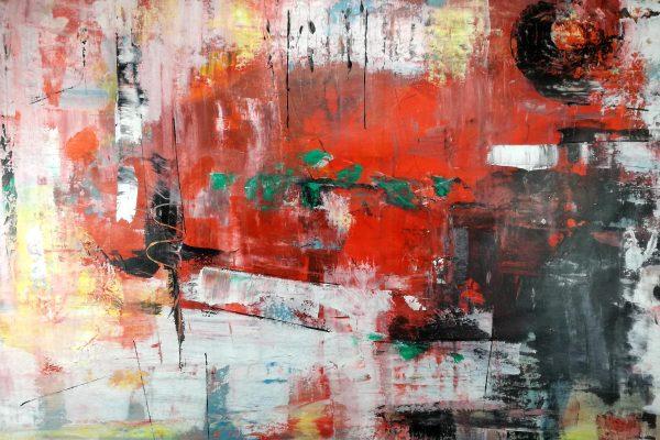quadri moderni astratti informali c174 600x400 - quadri grandi  su tela 120x80  rosso