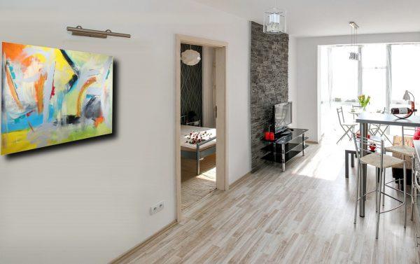 quadri grandi cucina soggiorno c176 600x377 - quadri grandi  da parete 120x80 giallo arancio grigio nero