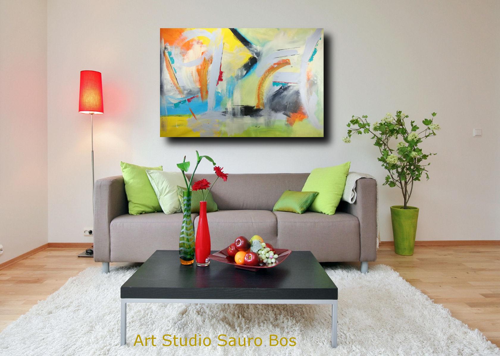 Quadri grandi da parete 120x80 giallo arancio grigio nero for Stampe da parete