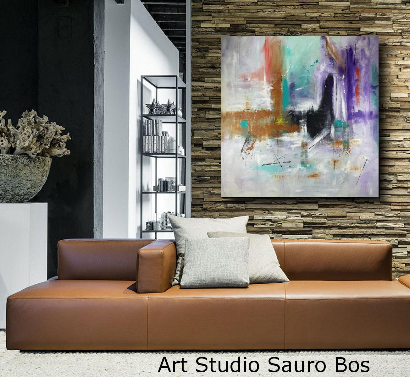 quadri astratti grandi per soggiorno moderno 120x120 | sauro bos