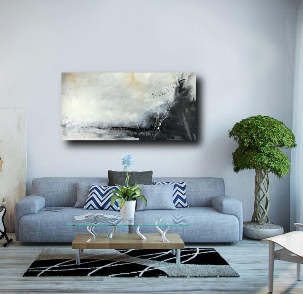 quadri soggiorno grandi 120x60 bianco e nero