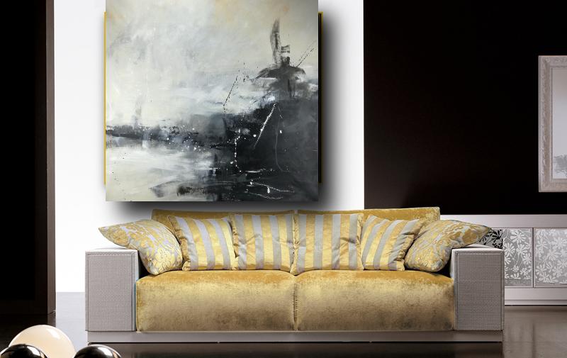 quadri soggiorno grandi 120x120 bianco e nero | sauro bos