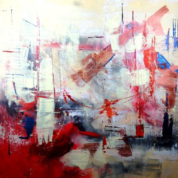astratto moderno su tela c222 600x600 - dipinti moderni grandi su tela 120x120 rosso