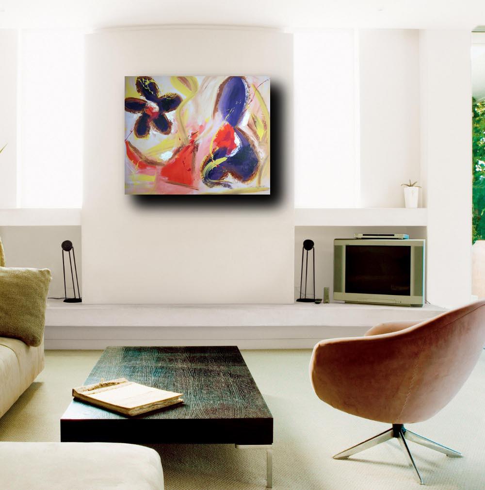 Quadri astratti per soggiorno moderno su tela 100x80 sauro bos - Ikea quadri su tela ...