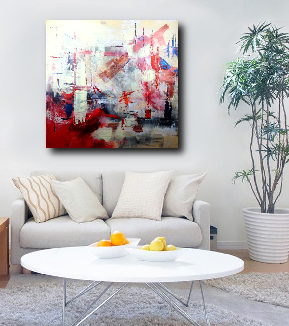 dipinti moderni grandi su tela 120x120 rosso | sauro bos