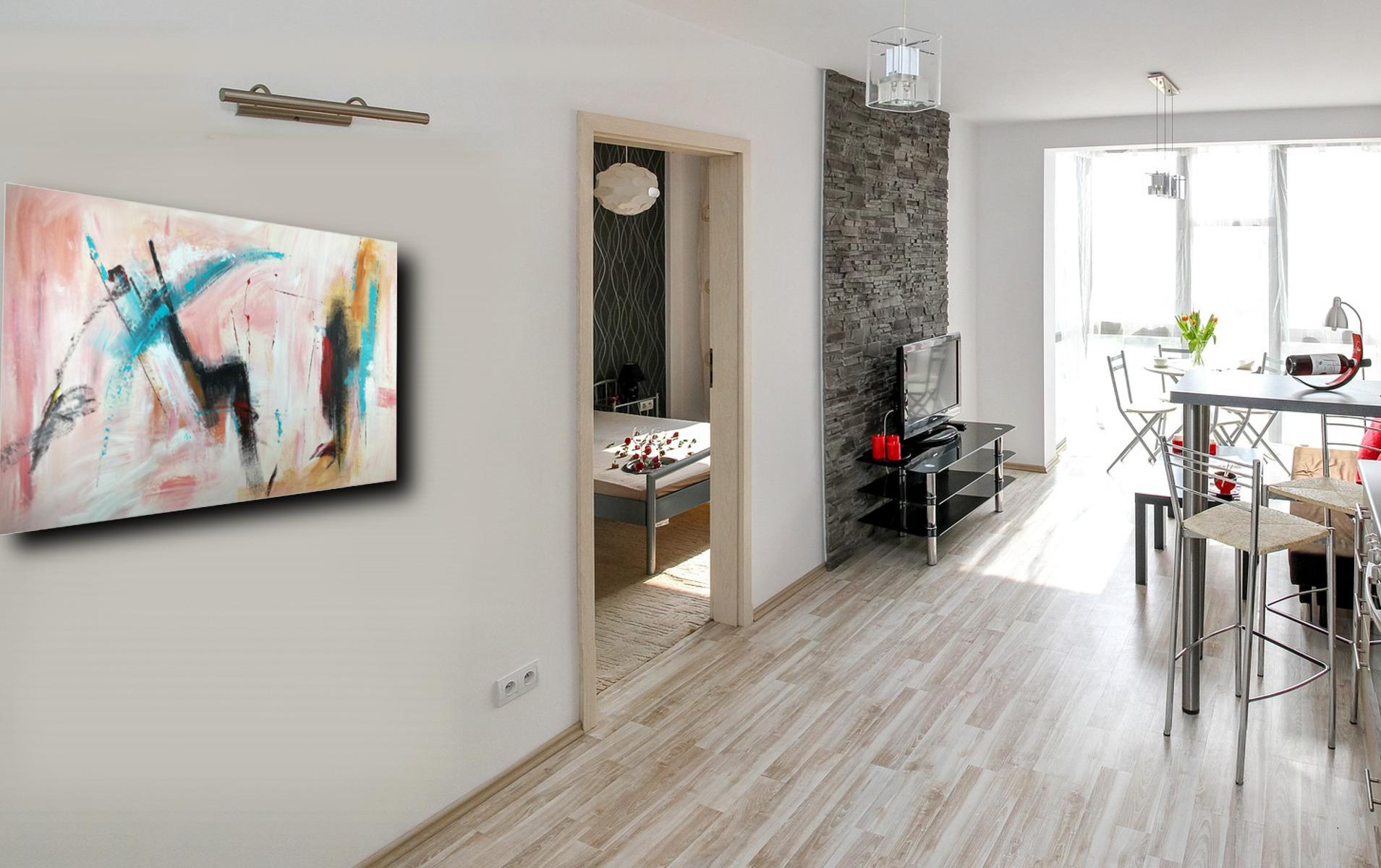 Quadro grande astratto su tela 120x80 per arredamento moderno cucina soggiorno copia sauro bos - Ikea quadri su tela ...