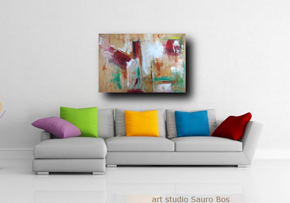 Dipinto grande astratto su tela 120x80 per arredamento moderno cucina soggiorno sauro bos - Quadri moderni cucina ...