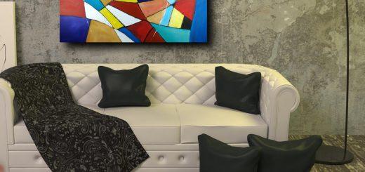 quadri astratti geometrici su tela 520x245 - vendita quadri