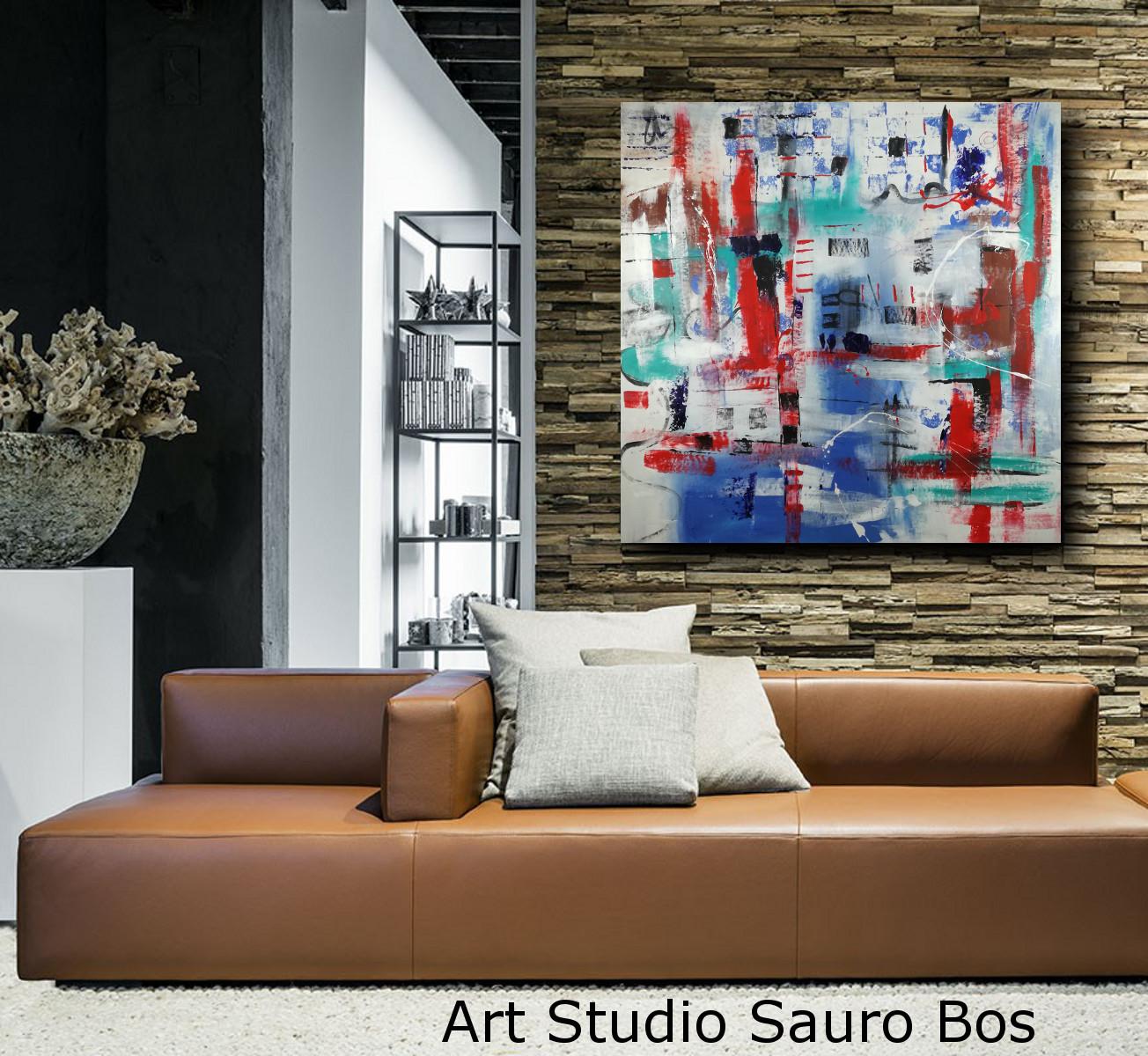 dipinti grandi su tela 120x120 arredare in modo moderno | sauro bos