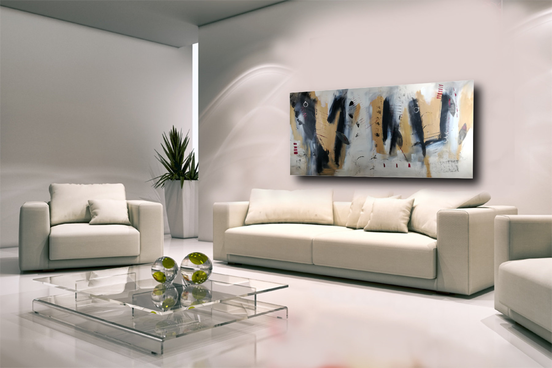 dipinto a mano grande per soggiorno 200x100 | sauro bos
