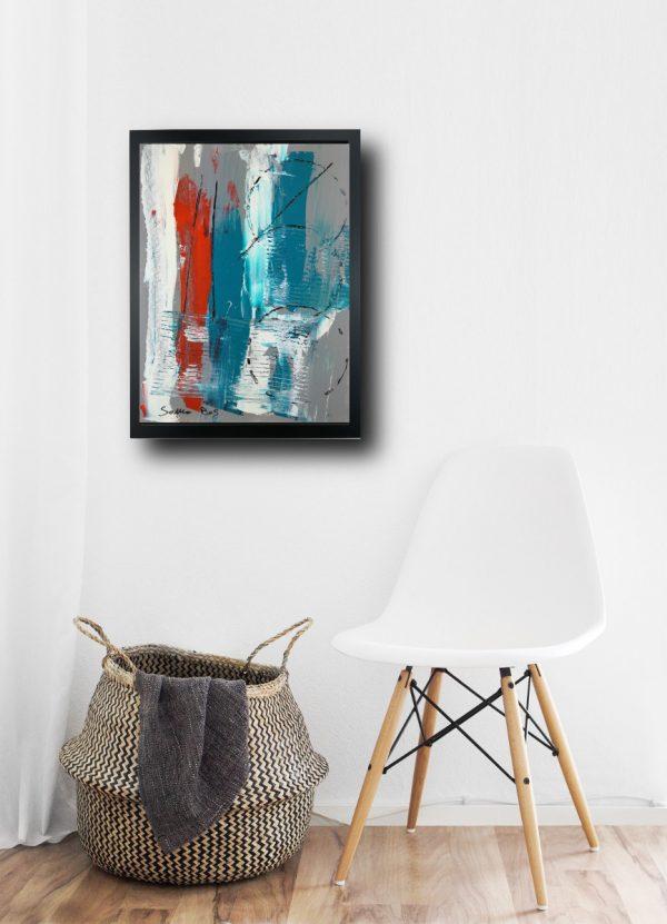 dipinto astratto za015 600x831 - quadro su tela astratto 30x40 con cornice za015