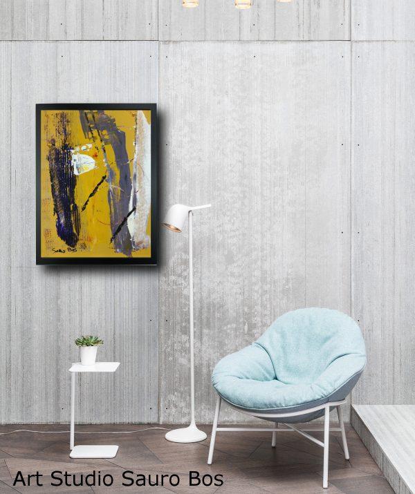 quadro dipinto a mano con cornice astratto za014 600x715 - quadro su tela astratto 30x40 con cornice za014