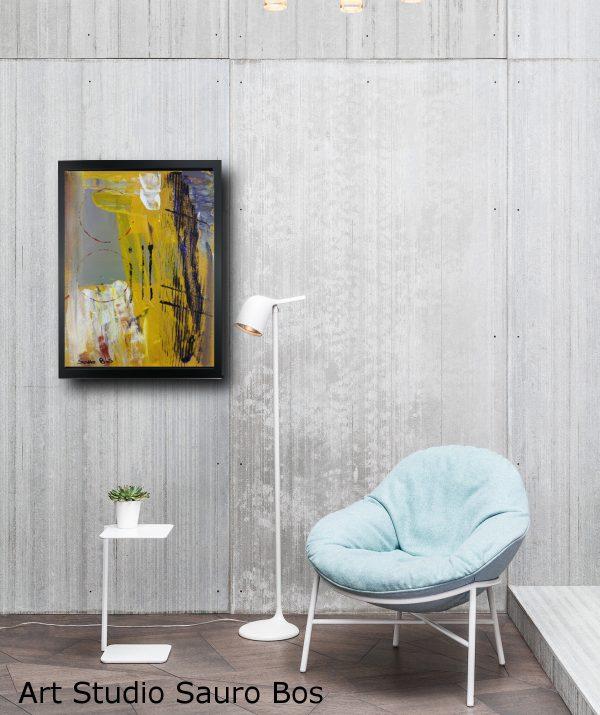 quadro giallo su tela astratto za019 600x715 - quadro su tela astratto 30x40 con cornice za019