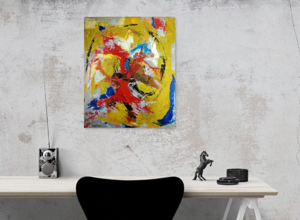 Dettagli su quadro moderno dipinto ad olio su tela astratto artista Sauro  Bos 100x80