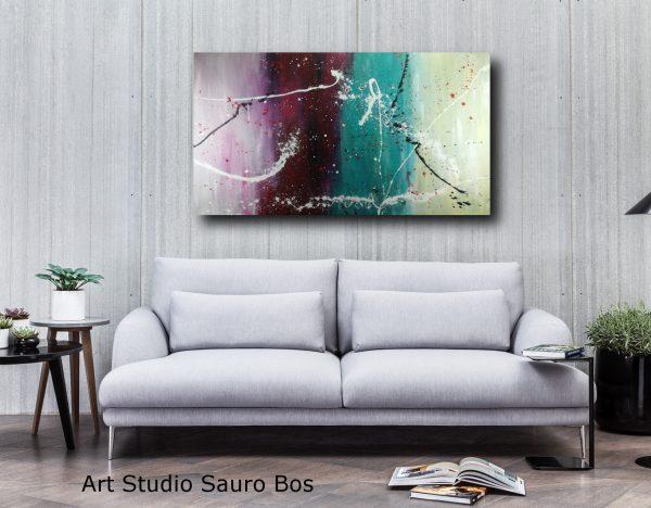 quadro colorato astratto c376 600x468 - dipinto a mano astratto contemporaneo 150x80
