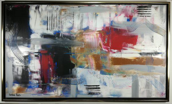 astratto c404 con cornice 600x365 - dipinto su tela con cornice  120x70 per soggiorno