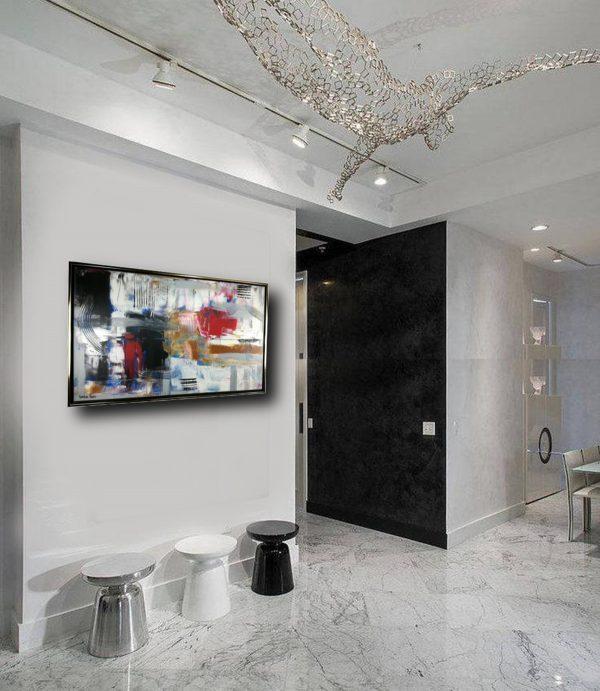 astratto per soggiorno c405 600x691 - dipinto su tela con cornice  120x70 per soggiorno