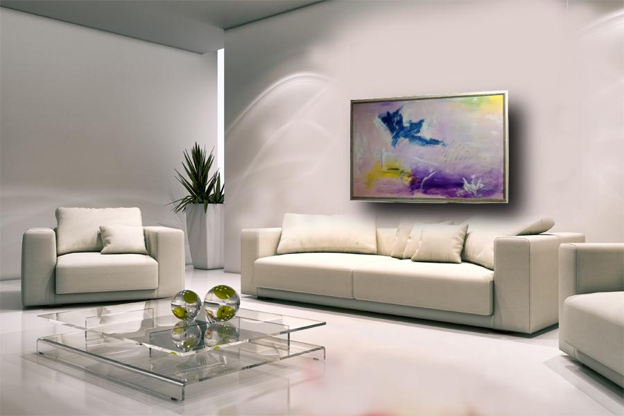 living3 1 - dipinto su tela con cornice  130x90