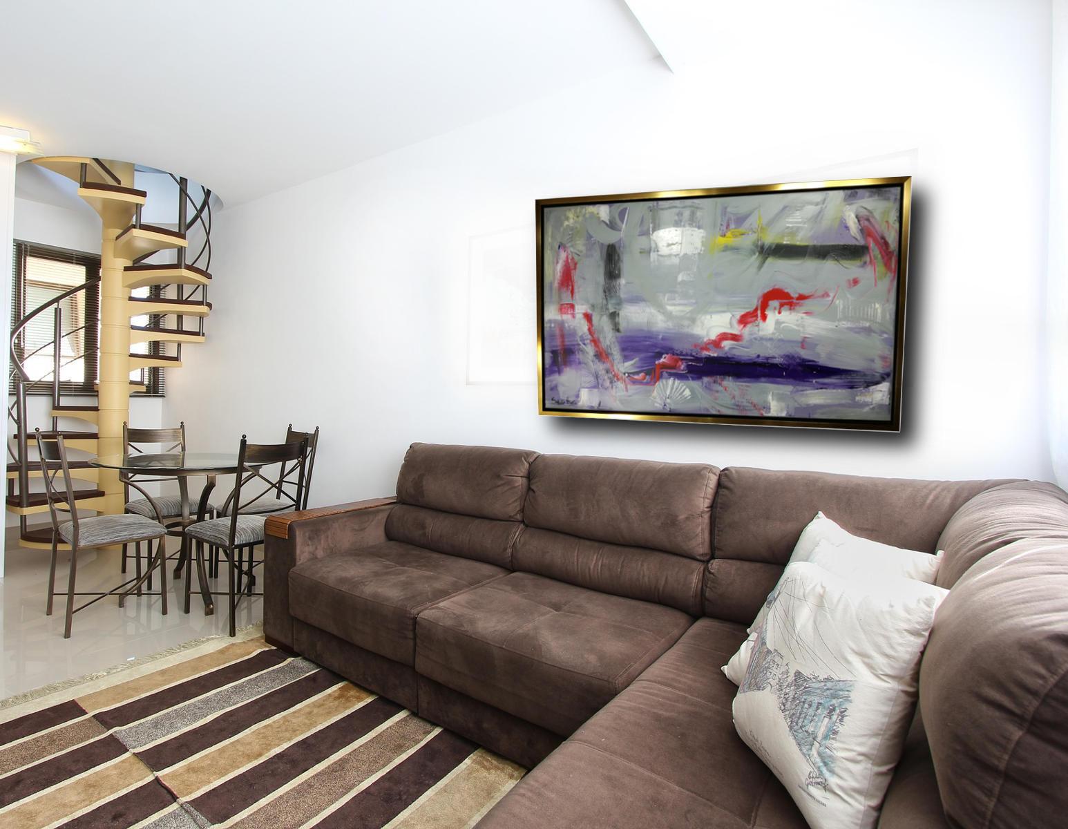 quadro astratto con cornice c414 - quadro su tela con cornice  oro 120x70
