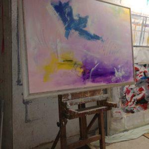 quadro astratto su tela con cornice 300x300 - dipinto su tela con cornice  130x90