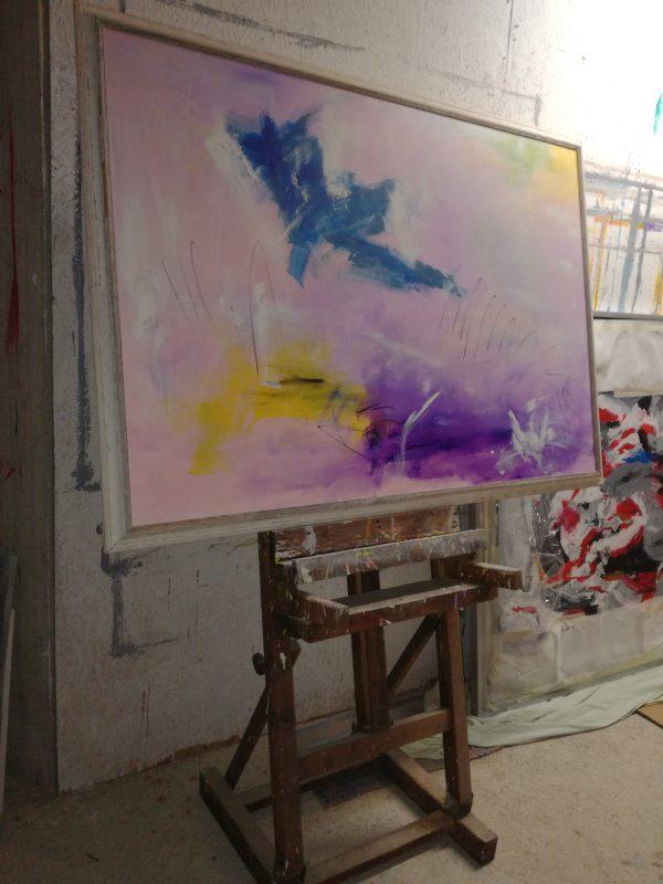 quadro astratto su tela con cornice 600x800 - dipinto su tela con cornice  130x90
