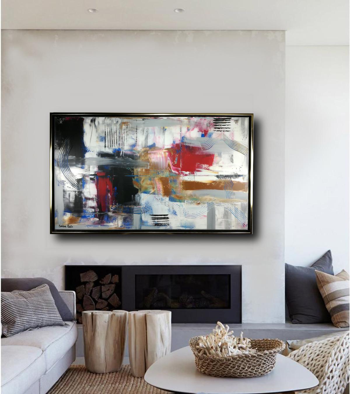 quadro per soggiorno c405 - dipinto su tela con cornice  120x70 per soggiorno
