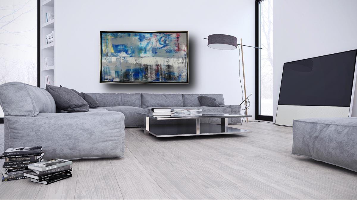 dipinto su tela blu con cornice 120x70 per soggiorno ...