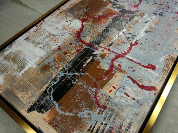 dipinto a mano su tela con cornice c421 600x450 - quadro su tela con cornice  oro 120x70