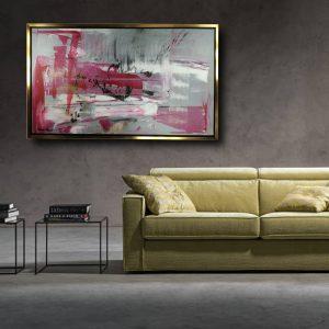 quadri astratti con cornice su tela c436 300x300 - quadro astratto dipinto a mano su tela con cornice oro 120x70 (Copia)