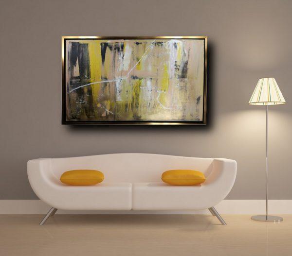 quadri astratti su tela con cornice c440 600x527 - quadro su tela astratto con cornice oro 120x70