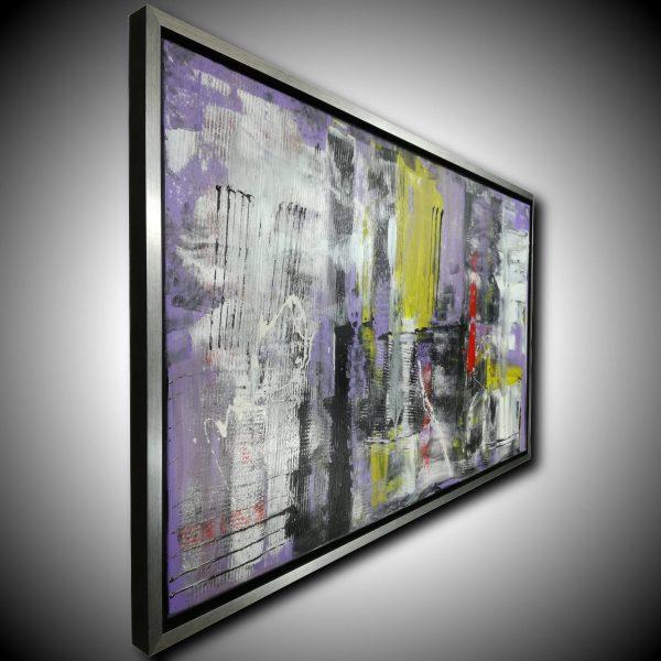 quadro astratto con cornice c426 600x600 - dipinto su tela con cornice argento 120x70