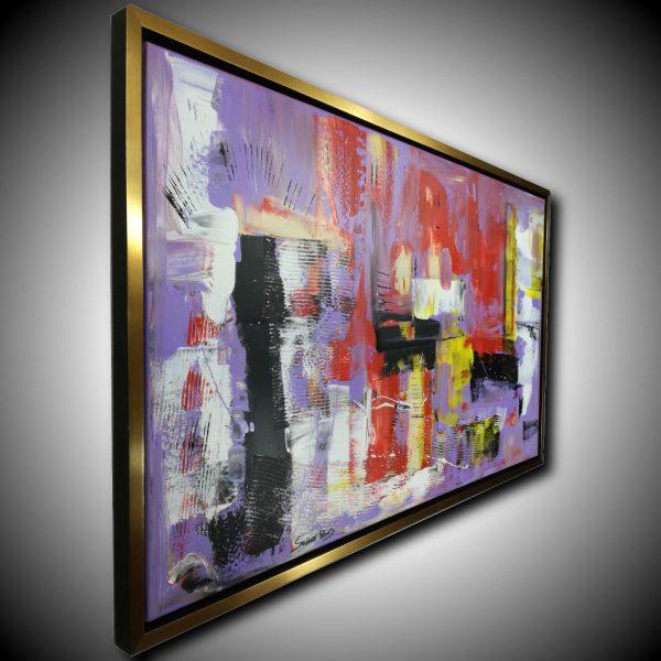 quadro astratto con cornice c427 600x600 - dipinto su tela con cornice  oro 120x70