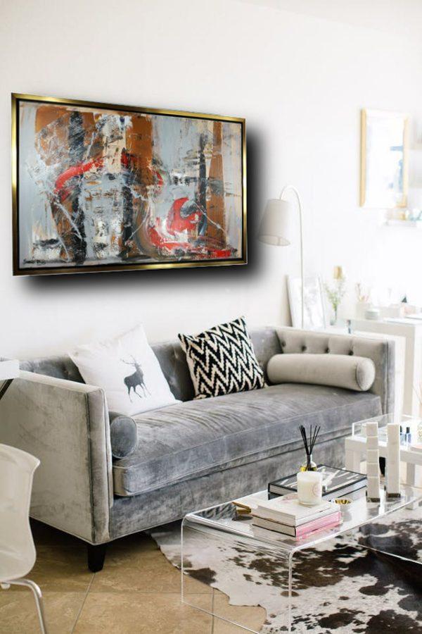 quadro astratto moderno c420 600x900 - quadro per soggiorno astratto con cornice oro 120x70