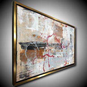 quadro astratto per soggiorno con cornice c421 300x300 - quadro su tela con cornice  oro 120x70
