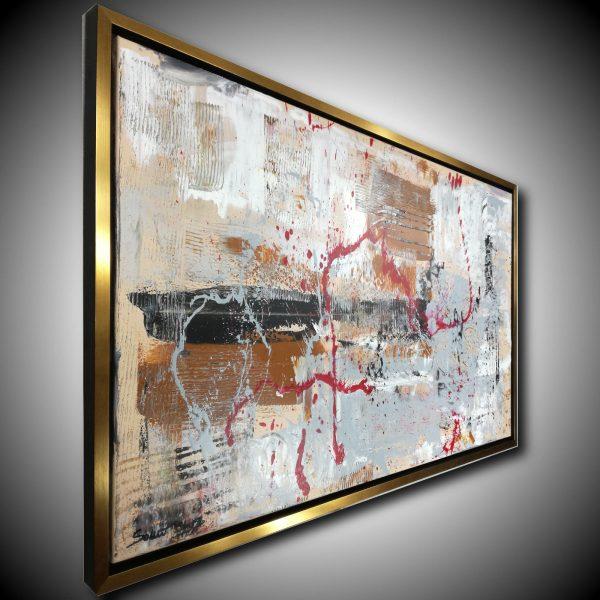 quadro astratto per soggiorno con cornice c421 600x600 - quadro su tela con cornice  oro 120x70