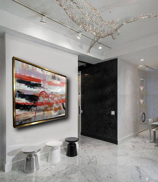 quadro astratto soggiorno con cornice c429 600x691 - dipinto su tela con cornice oro 120x70