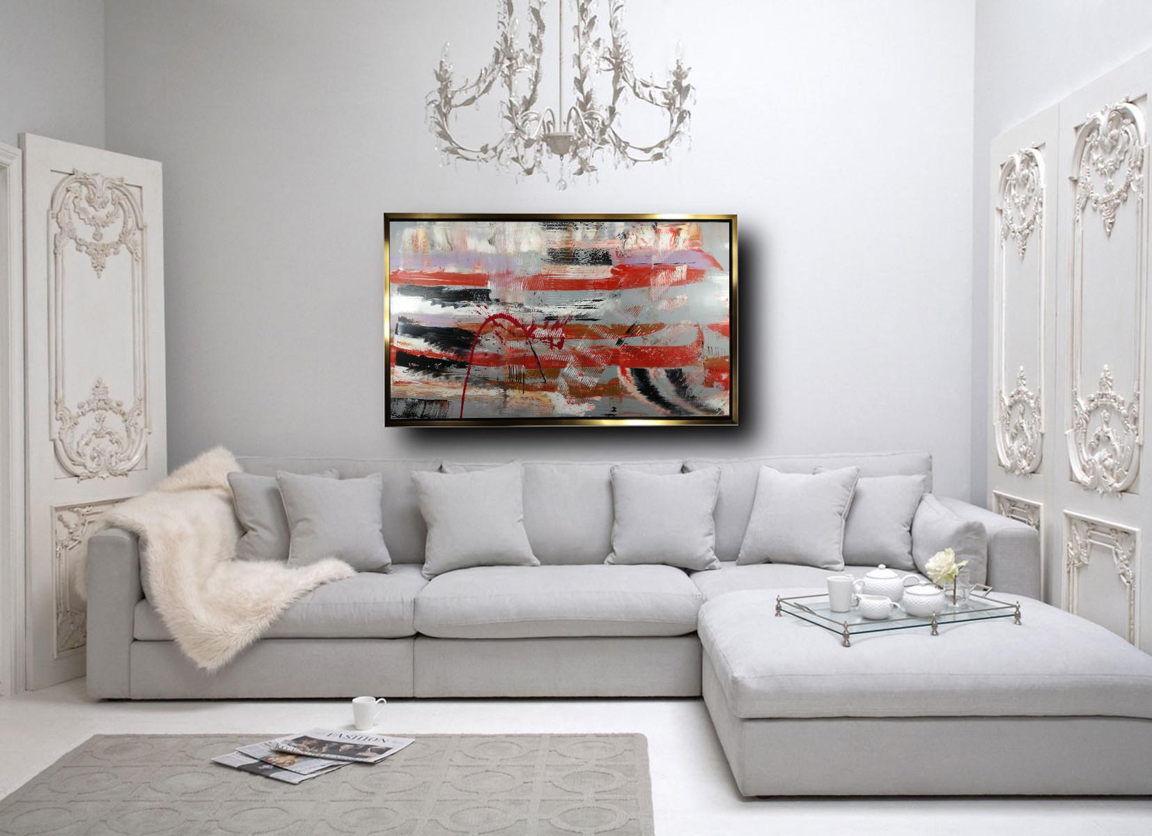 quadro astratto su tela c429 - dipinto su tela con cornice oro 120x70