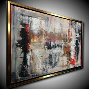 quadro atratto su tela con cornice c428 300x300 - quadro moderno con cornice  oro 120x70