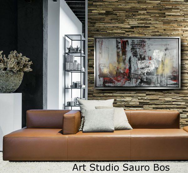 quadro con cormnice astratto c432 600x552 - quadro dipinto a mano su tela con cornice argento 120x70